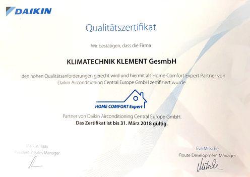 Urkunde von zertifizierten Mitarbeiter