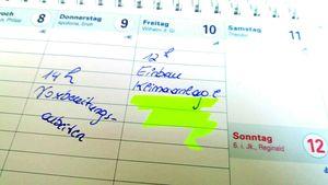 Kalender mit Zeitplan